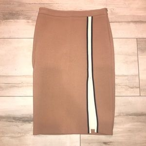 Zara military midi pencil skirt striped XS S